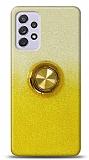 Samsung Galaxy A72 Simli Yüzüklü Sarı Silikon Kılıf