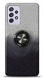 Samsung Galaxy A72 Simli Yüzüklü Siyah Silikon Kılıf