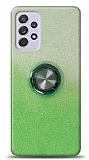 Samsung Galaxy A72 Simli Yüzüklü Yeşil Silikon Kılıf