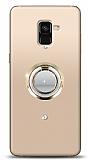 Samsung Galaxy A8 2018 Gold Tutuculu Taşlı Şeffaf Kılıf