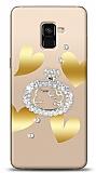 Samsung Galaxy A8 2018 Lovely Kitty Taşlı Kılıf