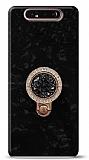Samsung Galaxy A80 Mozaik Yüzüklü Siyah Silikon Kılıf