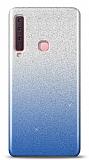 Samsung Galaxy A9 2018 Simli Mavi Silikon Kılıf