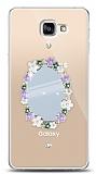 Samsung Galaxy A9 Çiçekli Aynalı Taşlı Kılıf