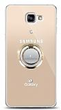 Samsung Galaxy A9 Gold Tutuculu Taşlı Şeffaf Kılıf