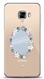 Samsung Galaxy C5 Pro Çiçekli Aynalı Taşlı Kılıf