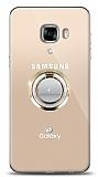 Samsung Galaxy C5 Pro Gold Tutuculu Taşlı Şeffaf Kılıf