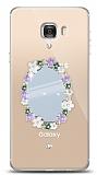 Samsung Galaxy C7 Çiçekli Aynalı Taşlı Kılıf