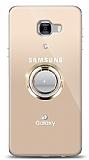 Samsung Galaxy C7 Pro Gold Tutuculu Taşlı Şeffaf Kılıf