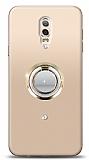 Samsung Galaxy C8 Gold Tutuculu Taşlı Şeffaf Kılıf