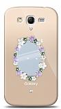 Samsung Galaxy Grand / Grand Neo Çiçekli Aynalı Taşlı Kılıf