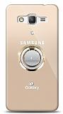 Samsung Galaxy Grand Prime / Plus Gold Tutuculu Taşlı Şeffaf Kılıf