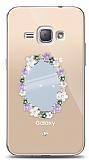 Samsung Galaxy J1 2016 Çiçekli Aynalı Taşlı Kılıf