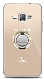Samsung Galaxy J1 2016 Gold Tutuculu Taşlı Şeffaf Kılıf
