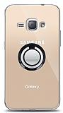 Samsung Galaxy J1 2016 Siyah Tutuculu Şeffaf Kılıf