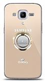 Samsung Galaxy J2 2016 Gold Tutuculu Taşlı Şeffaf Kılıf