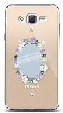 Samsung Galaxy J2 Çiçekli Aynalı Taşlı Kılıf