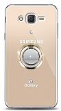 Samsung Galaxy J2 Gold Tutuculu Taşlı Şeffaf Kılıf