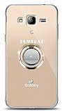 Samsung Galaxy J3 2016 Gold Tutuculu Taşlı Şeffaf Kılıf