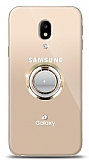 Samsung Galaxy J3 Pro 2017 Gold Tutuculu Taşlı Şeffaf Kılıf