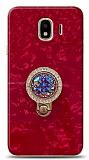 Samsung Galaxy J4 Mozaik Yüzüklü Kırmızı Silikon Kılıf