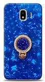 Samsung Galaxy J4 Mozaik Yüzüklü Mavi Silikon Kılıf