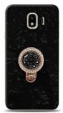 Samsung Galaxy J4 Mozaik Yüzüklü Siyah Silikon Kılıf