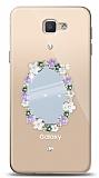 Samsung Galaxy J5 Prime Çiçekli Aynalı Taşlı Kılıf