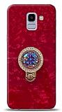Samsung Galaxy J6 Mozaik Yüzüklü Kırmızı Silikon Kılıf