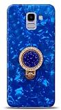 Samsung Galaxy J6 Mozaik Yüzüklü Mavi Silikon Kılıf