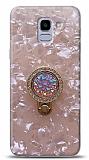 Samsung Galaxy J6 Mozaik Yüzüklü Pembe Silikon Kılıf