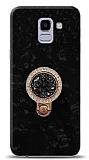 Samsung Galaxy J6 Mozaik Yüzüklü Siyah Silikon Kılıf