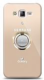 Samsung Galaxy J7 / Galaxy J7 Core Gold Tutuculu Taşlı Şeffaf Kılıf