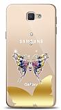 Samsung Galaxy J7 Prime / J7 Prime 2 Gold Kelebek Taşlı Kılıf