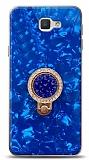 Samsung Galaxy J7 Prime / J7 Prime 2 Mozaik Yüzüklü Mavi Silikon Kılıf