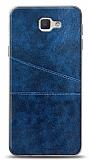Samsung Galaxy J7 Prime / J7 Prime 2 Silikon Kenarlı Kartlıklı Lacivert Deri Kılıf