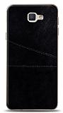 Samsung Galaxy J7 Prime / J7 Prime 2 Silikon Kenarlı Kartlıklı Siyah Deri Kılıf