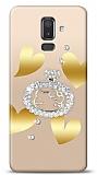 Samsung Galaxy J8 Lovely Kitty Taşlı Kılıf