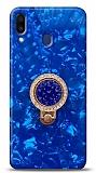 Samsung Galaxy M20 Mozaik Yüzüklü Mavi Silikon Kılıf