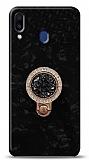 Samsung Galaxy M20 Mozaik Yüzüklü Siyah Silikon Kılıf