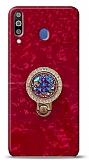 Samsung Galaxy M30 Mozaik Yüzüklü Kırmızı Silikon Kılıf