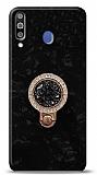 Samsung Galaxy M30 Mozaik Yüzüklü Siyah Silikon Kılıf