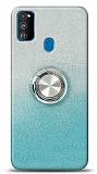 Samsung Galaxy M31 Simli Yüzüklü Mavi Silikon Kılıf
