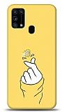 Samsung Galaxy M31s Finger Heart Taşlı Resimli Kılıf