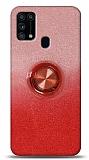 Samsung Galaxy M31s Simli Yüzüklü Kırmızı Silikon Kılıf