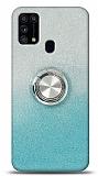Samsung Galaxy M31s Simli Yüzüklü Turkuaz Silikon Kılıf