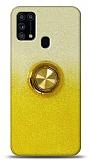 Samsung Galaxy M31s Simli Yüzüklü Sarı Silikon Kılıf