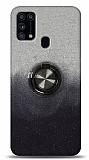 Samsung Galaxy M31s Simli Yüzüklü Siyah Silikon Kılıf