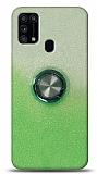 Samsung Galaxy M31s Simli Yüzüklü Yeşil Silikon Kılıf