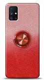 Samsung Galaxy M51 Simli Yüzüklü Kırmızı Silikon Kılıf